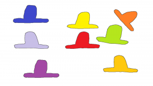 Multicoloured Lumps on a white background.