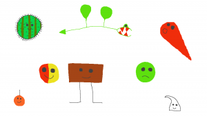 A collection of mumbles. A rectangluar brown mumble with legs and a smile, a round green mumble with a worried frown, a red mumble with a matching comet tail, a white chocolate chip mumble, a half-red and half- yellow round mumble, a monster mumble, long and thin and green, with wings and large red teeth, a small orange mumble resembling the fruit, and a stripy and spiky round cactus mumble.