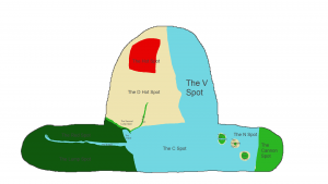 The world of the lumps, blue oceans, green countries, red and beige deserts. This version is labeled with the names of every Spot.